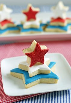 Red, White and Blue Star Cookie Towers