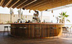 Pazuzu Beach Club and Restaurant by LoT office for architecture - The Greek Foundation Beach Restaurant Design, Restaurant Interior Design, Restaurant Bar, Bamboo Restaurant, Modern Restaurant, Beach Club, Pool Bar, Cafe Bar, Bar Piscina