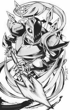 """sanitrance: """"Inktober #2 Undyne, the captain of the Royal Guard - A heart that burns for justice! Some Undertale fan art I started last year but never posted properly. I've always loved the introduction of Undyne in this game. She looks so badass in..."""