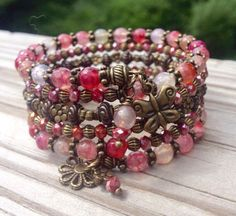 Agate Aspirations Shades of Pink Multi Strand Memory Wire Wrap Bracelet