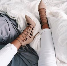 White jeans, nude lace up high heels
