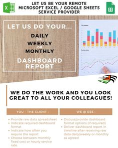 Do you have tight deadlines and require to produce MS Excel or Google Sheet  Graphs/reports/spreadsheets - let us at ESS be of service to you and complete all your spreadsheet needs in time while you focus on other work deliverables.  Our remote support online service is available to all worldwide.  Email us at info@excelspreadsheet-support.com  #ess #excelspreadsheet #googlesheets #msexcel #smallbusinessowner #smallbusinesssouthafrica #smallbusinessaustralia #smallbusinessuk #smallbusinesslondo Dashboard Reports, Small Business Uk, Microsoft Excel, Ms, Remote, Content, Let It Be, Tools, Instruments