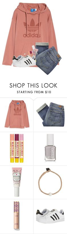 """""""Those Lazy Days😝😴"""" by kennabug10 ❤ liked on Polyvore featuring adidas Originals, Paige Denim, Burt's Bees, Essie, Too Faced Cosmetics, Lokai and adidas"""