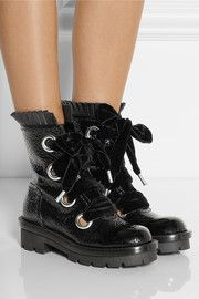 Alexander McQueenTextured patent-leather ankle boots