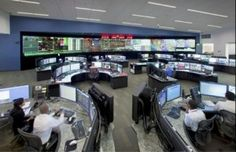 """Super Hi-Tech Multi-Monitor and Video Wall """"Command and Control Room"""" with Custom Workstation Consoles!"""