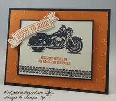 Windy's Wonderful Creations: Born to Ride Birthday!, Stampin' Up!, One Wild Ride, Sparkle emboss folder, Bunch of Banners dies