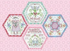 Best Friends Forever: Instalment Four Embroidery Applique, Embroidery Patterns, Quilt Patterns, Embroidery Stitches, Broderie Primitive, Embroidered Quilts, Hexagon Quilt, Hexagon Pattern, Doodle Designs