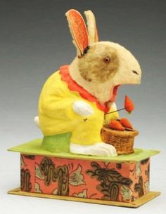 Rare vintage mechanical rabbit feeder candy container/dispenser, Germany