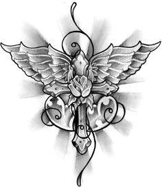 Winged Cross Tattoo Design By On Deviantart picture 10987 Dream Tattoos, Mom Tattoos, Cute Tattoos, Beautiful Tattoos, Body Art Tattoos, Tattoo Drawings, Tatoos, Wing Tattoos, Tattoo Art