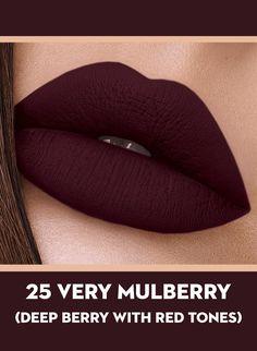 25 Very Mulberry (Deep Berry) Of Sugar Smudge Me Not Liquid Lipstick - full_make_up_pintennium Lipstick Art, Long Wear Lipstick, Lip Art, Liquid Lipstick, Burgundy Lipstick, Wine Lipstick, Lipstick Colors Matte, Brown Lipstick Shades, Crazy Lipstick