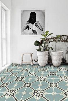 Samsara Vinyl Tile Sticker Pack in Celadon - Tile Decals - Floor Stickers