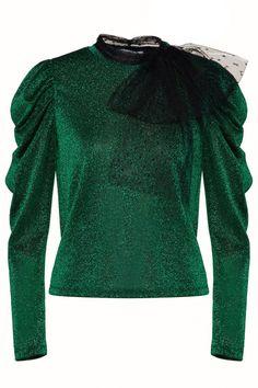 Red Valentino Damen Shirt aus Lurex Grün | SAILERstyle Valentino Garavani, Red Valentino, Bell Sleeves, Bell Sleeve Top, Shirts, Holiday, Sweaters, Tops, Women