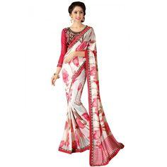 Lovely Pink & Off-White Printed Saree on SmartDeals4u.com