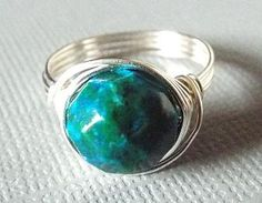 Azurite Chrysocolla Ring Blue Stone Ring Wire by PepperandPomme