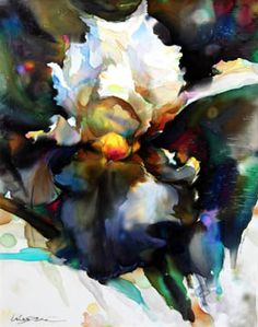 """Wei Tai - Iris. 40""""x32""""  Silk Painting"""