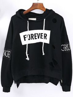 Looking for ways to style my Black Hooded Letters Embroidered Hollow Sweatshirt…