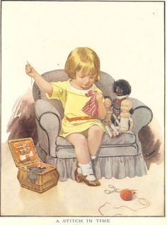 Vintage 1926 Children's Print By Inez Topham Young Girl Sitting In Armchair Mending Sewing Dolls Clothes Book Plate Book Illustration Images Vintage, Vintage Pictures, Vintage Cards, Vintage Postcards, Cute Pictures, Sewing Art, Sewing Dolls, Sewing Crafts, Sewing Projects