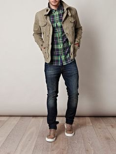 Green plaid with tan