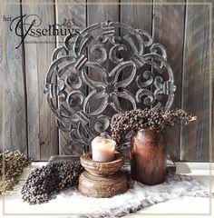 Ornament hout grijs ♥