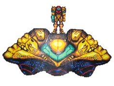 A bead sprite to be included in a very large wall piece. Samus Aran embarking on her mission from her ship, as drawn for Super Metroid for SNES.