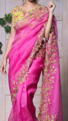 Half Saree Designs, Bridal Blouse Designs, Saree Blouse Designs, Blouse Models, Saree Models, Fancy Sarees Party Wear, Purple Saree, Kurti Embroidery Design, Modern Saree