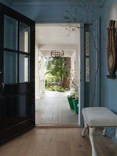 Photos and ideas from the Mill Vally home designed by Benjamin Dhong Interior Design as featured in the May issue of SFC&G including photos of the living room, kitchen, foyer, exterior, landscape and bedrooms. Entry Bench, Entry Hallway, Entryway, Floor Design, House Design, Interior Exterior, Interior Design, Exterior Light Fixtures, Blue Paint Colors