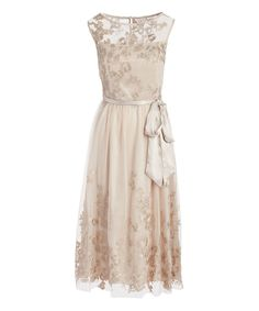Flirty floral accents and a midi length lends romance to your looks when you flaunt this dress at a wedding or on a date night with your special someone. Size 8: 50'' long from high point of shoulder to hem100% polyesterHand wash; dry flatImported