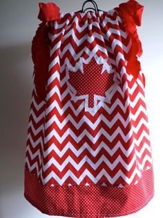 Canada chevron and dots pillowcase dress - Canada Day dress with maple leaf applique~. Canadian Party, Canada Day Party, Happy Canada Day, Thinking Day, Purse Styles, Vintage Dolls, Birthday Celebration, Day Dresses, Holiday Fun