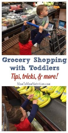 From letting your kids choose a new food item to talking about fresh produce with them, learn some tips and tricks to grocery shopping with toddlers! /MomNutrition/