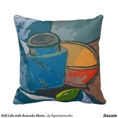 Still Life with Avacado Abstract Throw Pillows