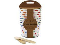 Farbenfrohe Eisbecher von Meri Meri. Diese stabilen Pappbecher sind perfekt um Eis oder andere süße Leckereien auf Ihrer Party zu servieren. Die Packung enthält 8 Pappbecher in zwei verschiedenen Mustern: 4 mit hellem Punktmuster und Zierstreifen.