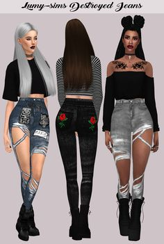 DESTROYED JEANS By Lumi-sims  33 Swatches HQ Mod Compatible Custom Catalog Thumbnails **My friend wanted to dress up the sims i hope you like them >_<