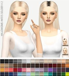 Miss Paraply: Hallowsims Anto`s Soldier hair solid and dark roots • Sims 4 Downloads