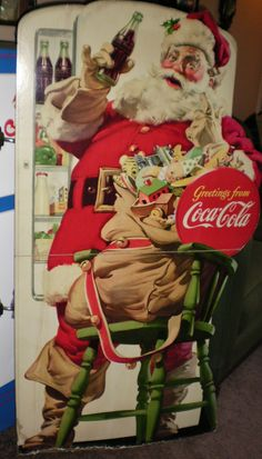 1948 Coca Cola Store Display Cardboard Stand Up Santa | eBay