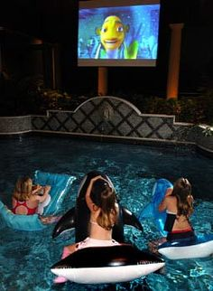 Dive-In Theater...poolside, drop down movie screen.....WAY COOL!