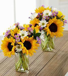 Sunflower Fields Petite Bouquet Duo - 2 Petite Jars Included