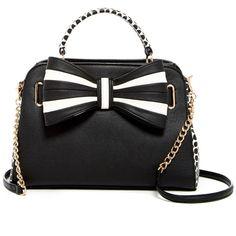 Betsey Johnson 1 2 3 Bow Satchel ($60) ❤ liked on Polyvore featuring bags, handbags, black, handbag satchel, color block purse, betsey johnson purses, polka dot handbag and satchel handbags