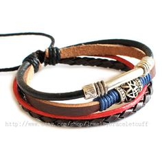Bangle  bracelet leather bracelet men bracelet Cuff made of leather and metal  wrist bracelet  SH-0731. $8.00, via Etsy.