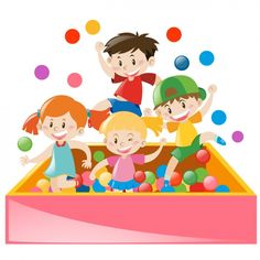 Kids playing wth balls Free Vector
