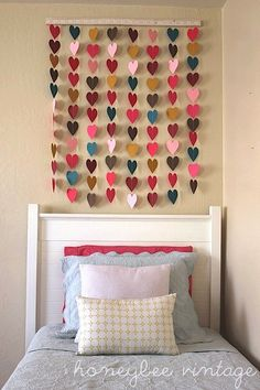 heart wall art over girls bed