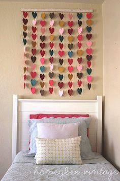 heart wall art over girls bed