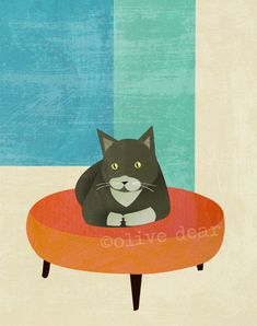 ottoman cat fine art reproduction print by olivedear on Etsy,