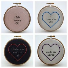 Realistic Love Notes - Cross Stitch Art Let your valentine know how you really feel