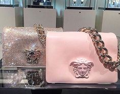 Versace Handbag for sale, ultimate guide to the hottest fashion handbags style inspiration from around the world. Luxury Bags, Luxury Handbags, Purses And Handbags, Versace Handbags, Versace Bag, Versace Gifts, Mode Rose, Jewelry Accessories, Fashion Accessories