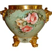 Beautiful Antique Limoges France Hand Painted Porcelain Jardiniere with Base Roses