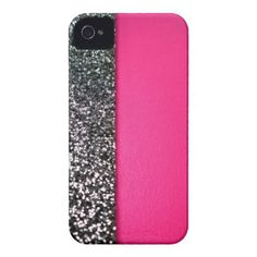 Black & pink glitter iphone cover iphone 4 cover from Zazzle.com
