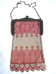 Art Deco Whiting and Davis Pink, Red & White Metal Mesh Evening Bag Purse