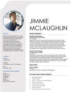 hospitality management resume template Cv Design Template Free, Resume Template Free, Free Resume, Best Resume, Resume Tips, Resume Examples, Simple Resume Format, Build Your Resume, Perfect Resume