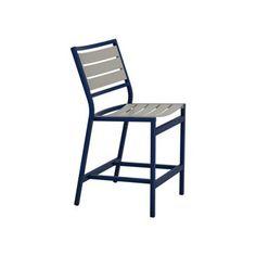 "Tropitone Cabana Club 25"" Bar Stool Seat Color: Graphite, Frame Finish: Obsidian"