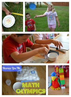 Fun Math Games for Kids!  I especially love the cotton ball squeeze challenge.
